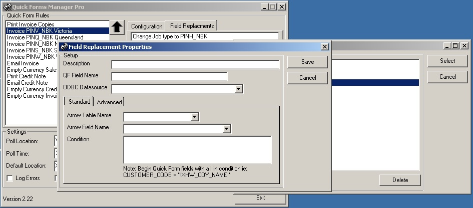 Quick Forms Manager Advanced Field Replacement