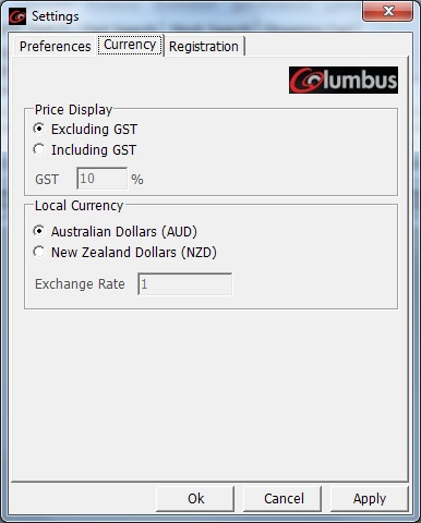 Settings Currency