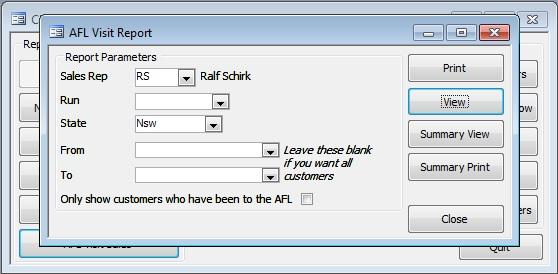 Client Manager AFL Visit Report Parameters