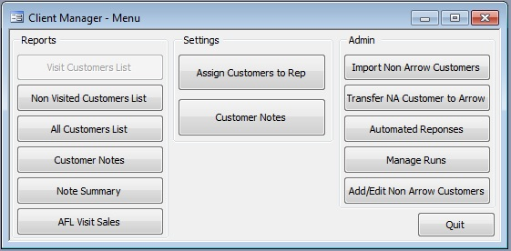 Client Manager Menu