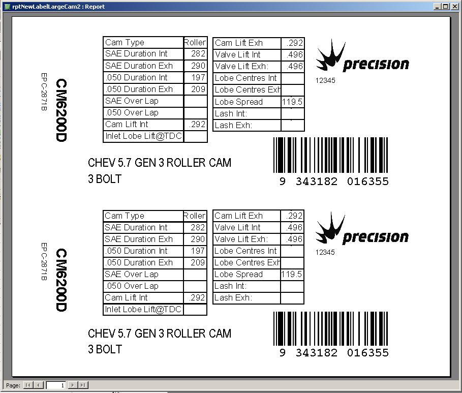 Label Maker Large Camshaft Label